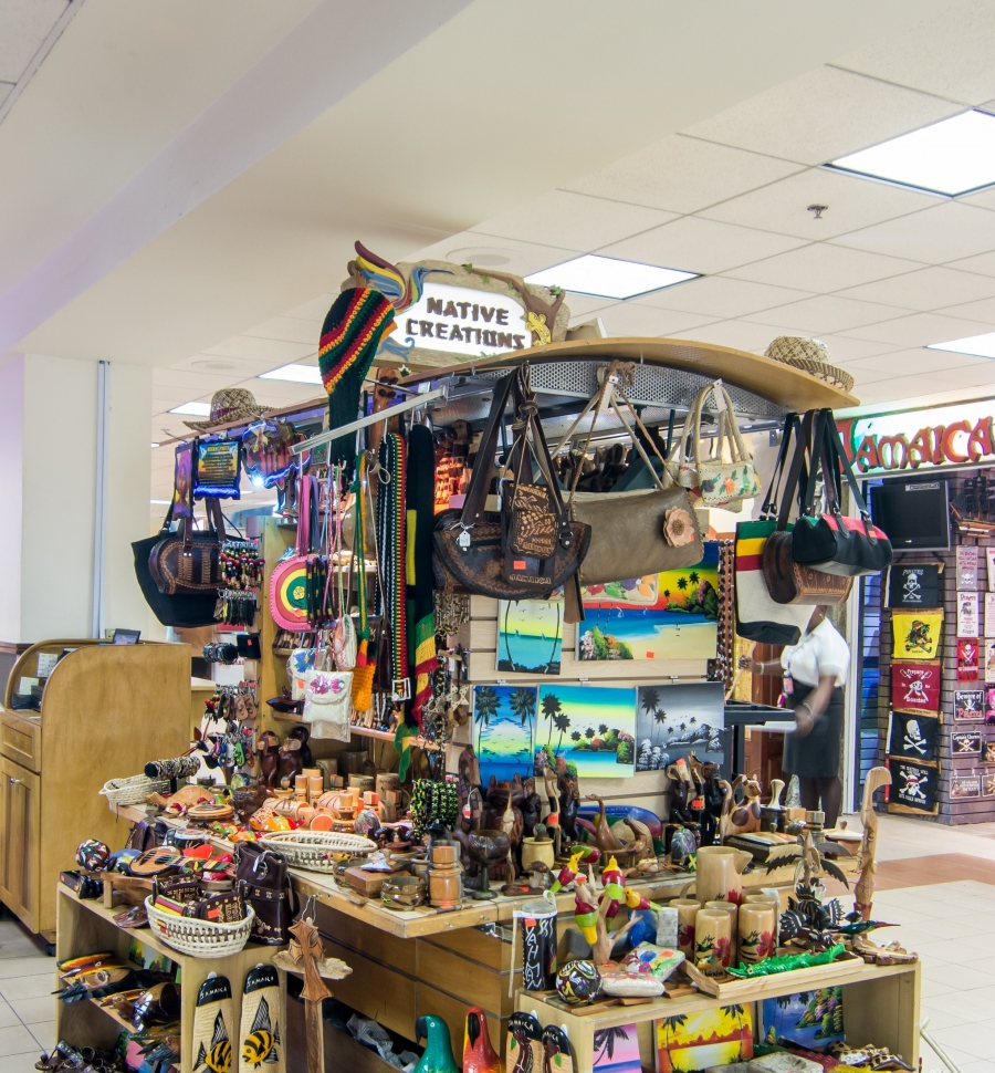 Shopping Duty Free Montego Bay Jamaica Airport Bumbu Instant Bamboe Export Native Creations Local Leather Craft